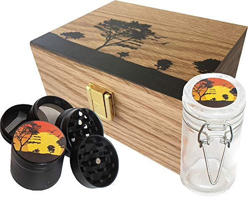 StashAM Stash Box Combo with Grinder – Includes Zinc Alloy 4 Part Herb Grinder, Smell Proof Airtight Glass Stash Jar & Embossed Wood Stash Box