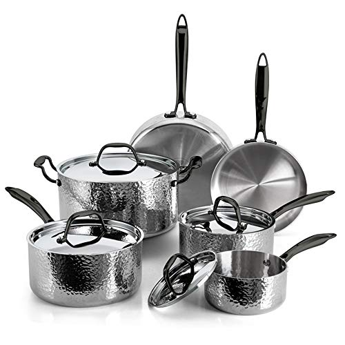 FLEISCHER AND WOLF Stainless Steel Fry Pots Pans Set Cookware Set (10-Piece) Dishwasher Safe Oven and Grill Kitchen