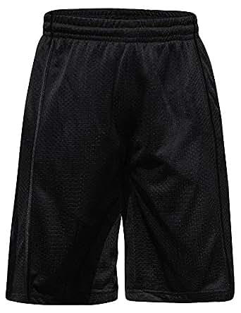 Men's Knee-Length Mesh Basketball Shorts, Black Stripe on Black - S