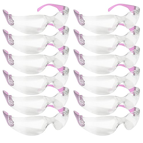 BISON LIFE Clear Lens Color Temple Safety Glasses | One Size, Adult, Youth, Clear Protective Polycarbonate Lens Color Temple, PINK, 12 per Box (1 box)