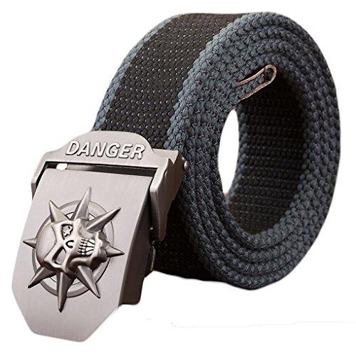 Skull Web Belt - Ayli Men's Gothic Skull Tactical Canvas Web Belt, Metal Buckle, Black and Blue, Fits All Pant Sizes Below 40