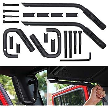 Vijay Hunter Black Front Grab Bar Brushed Hard Steel Wild Boar Grab Handle Kit for 2007-2017 Jeep Wrangler JK JKU
