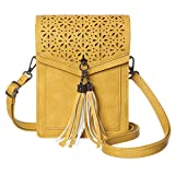 MINICAT Fringe Thicher Pocket Small Crossbody Bags Cell Phone Purse Wallet For Women With Credit Card Slots(Yellow)
