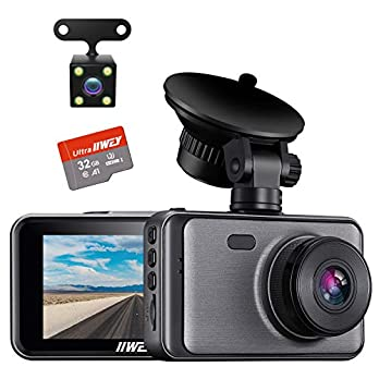 Dash Camera for Cars, 1080P Dash Cam Front and Rear and SD Card Include, 3″ LCD Screen Dual Lens Dash Cam with Night Vision, 170° Wide Angle Dashboard DVR Motion Detection Parking Monitor G-Sensor WDR