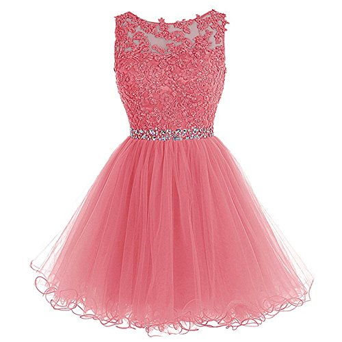 (WDING Short Tulle Homecoming Dresses Appliques Beads Prom Party Gown Coral,US2)