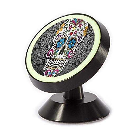 Car Phone Holder Sugar Skull and Flower Background Magnetic Phone Holder 360˚ Rotation Universal Mount Cell Phone Stand for Phone X/6/6s/7/8/8 Plus/7, Galaxy S9/S9 Plus/S8/S7