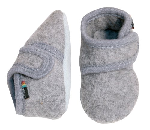 MeltonWollhausschuhe mit Klettverschluss - Zapatillas de casa Bebé-Niños gris (Light Grey Melange)