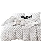Wake In Cloud 3pc Cotton Duvet Cover Set, Queen, Gray White Chevron Deal (Small Image)