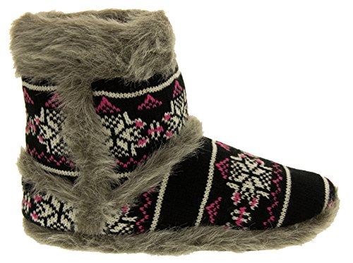 Coolers Women's Snugg Warm Fairisle Print Design Slipper Boot Black/pink CbJu7