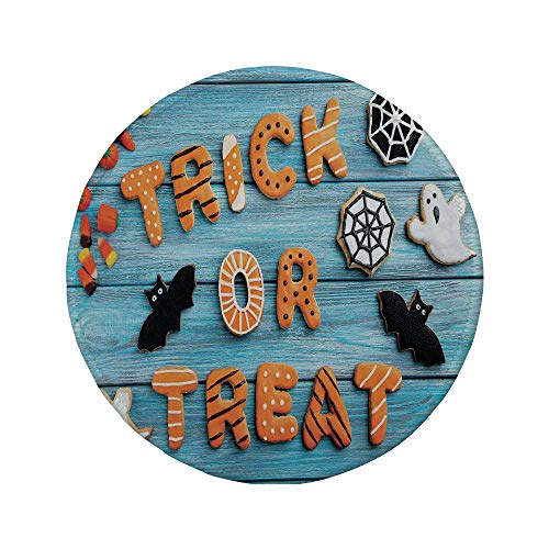 (Non-Slip Rubber Round Mouse Pad,Vintage Halloween,Trick or Treat Cookie Wooden Table Ghost Bat Web Halloween,Blue Amber)