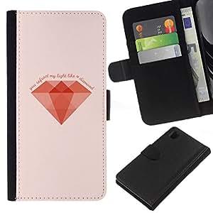 NEECELL GIFT forCITY // Billetera de cuero Caso Cubierta de protección Carcasa / Leather Wallet Case for Sony Xperia Z1 L39 // MINIMALISTA DIAMANTE