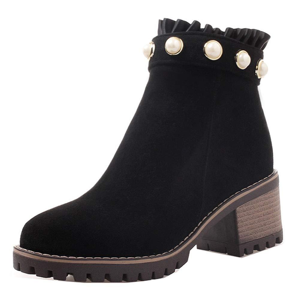 Easemax Femme Classique Noir Dentelle Classique Talon Moyen Cheville Low Boots Boots Bottines Noir b84bc9f - piero.space