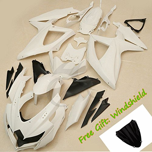 Oem Suzuki Fairings - TCMT Unpainted White Fairing Bodywork Kit Fits For Suzuki GSX-R600 GSXR 600 GSXR750 2008 2009 2010