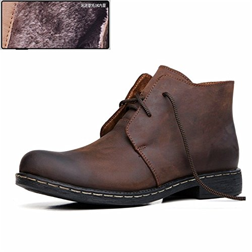 RAINSTAR Mens Lace Up Chukka Ankle Booties Working Shoes Casual High-Top Boot Braun With Fleece QNLfIMvPll