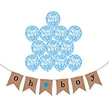"""Boy Baby Shower Party Pack - """"Oh Boy"""" Boy Burlap Banner and Balloons Set - aby Shower Decorations - Gender Reveal Baby Announcement"""