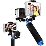 First2savvv GO-ST-FL-03 Action Camera floating Grip Mount Handle Stabilizer Selfie With Smartphone Mobile Phone Clip for Gopro Hero 4, Session, Black, Silver, Hero+ LCD, 3+, 3, XIAOMI 1 YI 2 4K SJ5000 SJ6000