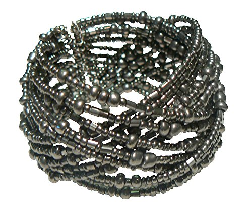 Matte Bugle Beads (Silver-Tone Metallic Finish Braided Seed Bead Cuff Bracelet, 1 ¾ Inches Wide)