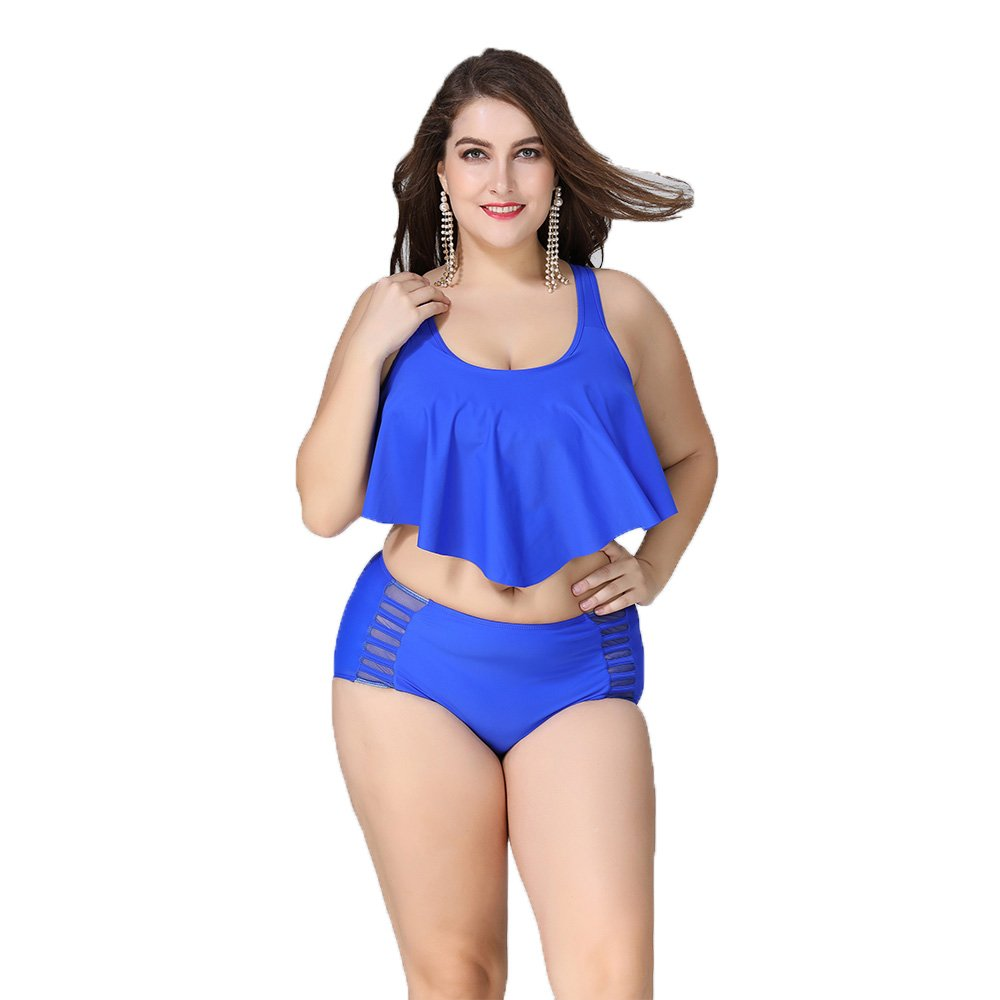 Wellwits Women's Plus Size Stars and Stripes Ruffle Cropped Tank Top Swimsuit