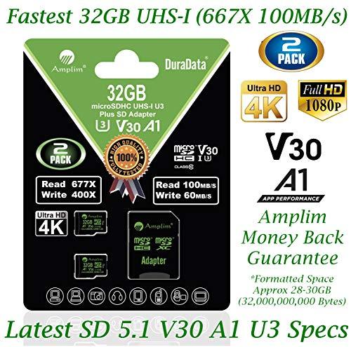 2 Pack 32GB Micro SD SDHC V30 A1 Pro Memory Card Plus Adapter Pack (Class 10 U3 UHS-I MicroSD HC) Amplim 32 GB Ultra High Speed 667X 100MB/s TF MicroSDHC 4K Flash - Cell Phone, Drone, Camera
