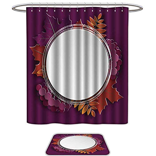 Shower Curtain and Mat SetAutumn floral paper cut frame and paper colorful tree leaves on purple background Autumnal design for fall season sale banner poster flyer web site paper craft style1. Set