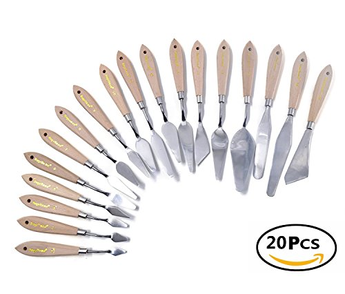 Betwoo Wood Handle Stainless Steel Knife Palette Oil Painting Spatula Scraper, Set of 20
