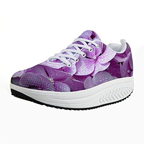 Rose U Vintage FOR Shoes Flower Platform Women's Sneaker Walking DESIGNS Floral Print Casual Pink Wedges Fitness qFIdI
