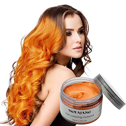 MOFAJANG Hair Coloring Dye Wax,Orange Instant Hair Wax, Temporary Hairstyle Cream 4.23 oz, Hair Pomades, Natural Hairstyle Wax for Men and Women Party Cosplay]()