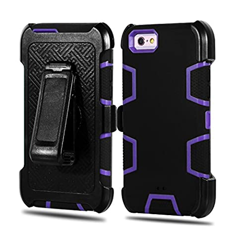 iPhone 6S Case, iPhone 6S / 6 Holster Defender Case Asstar HEAVY DUTY Tough 4 in1 Belt-Clip with Kickstand Shockproof Armor Hybrid Hard Shell for Apple iPhone 6S / iPhone 6 (Black (Gold Disney Iphone 5s Case)