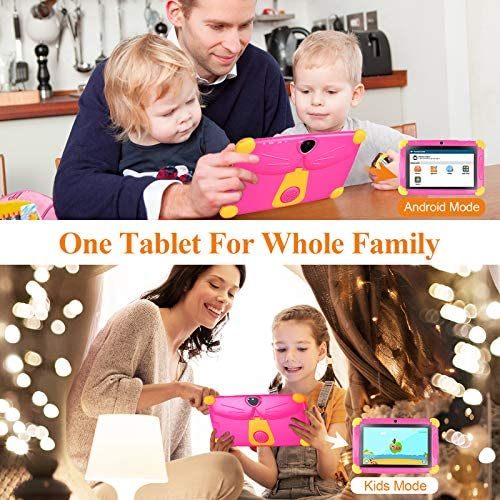 Kids Tablet 7 Inch Tablet for Kids Quad Core Andriod 8.1 1GB RAM 16GB ROM Toddler Edition Tablet GMS Certificated with Dual Cameras Kids Software Iwawa Learning Tablets Parent Control Mode