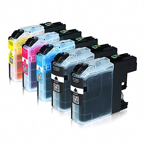 INKUTEN 5PK Compatible Ink Cartridges for Brother LC201 LC203 (2 Black, 1 Yellow, 1 Magenta, 1 Cyan) for MFC J460DW J480DW J485DW J680DW J880DW J885DW J4320DW J4420DW J4620DW J5520DW J5620DW J5720DW