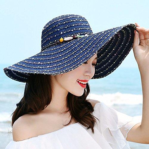 LOF-fei Mujer verano Sol sombrero de paja sombrero de ala ancha pueden  plegarse beach b71a7011154