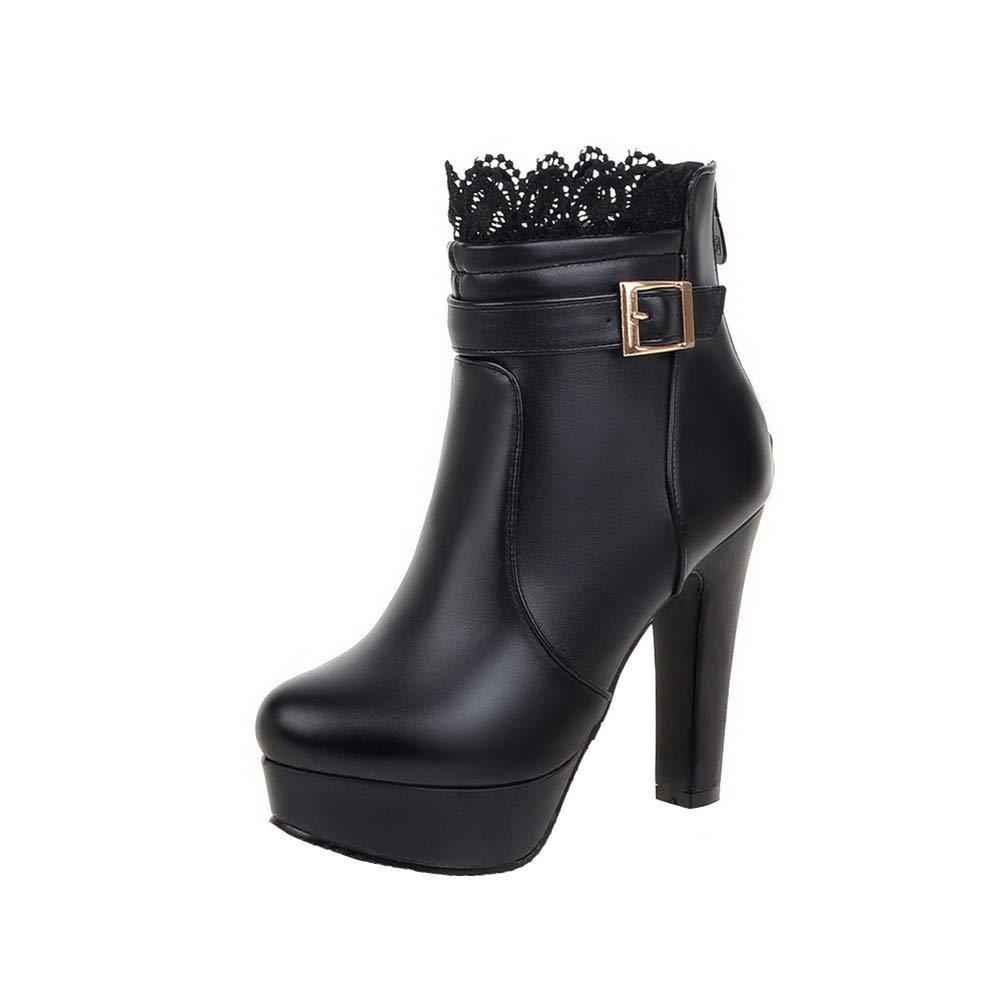 Y2Y Studio Bottines Lace Femmes avec B01LPNJY02 à Talon Noir Haut Bloc Modeuse Bout Rond avec Boucle Chic Boots Femmes Hiver Noir fd17c17 - gis9ma7le.space