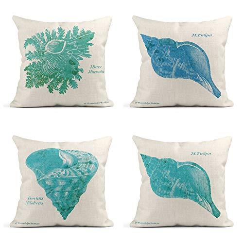- Tarolo Set of 4 Shell On White Teal Green White Shell Seashell Triton Conch Vintage Ephemera Coastal Tropical Decorative Linen Throw Pillow Covers Case Cushion 16