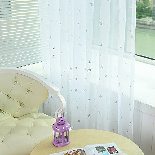 pureaqu Kids Room Window Curtain Sheer Decoration Rod Pocket Process Silver Star Voile Curtain/Drapes (1 Panel W52xH63)