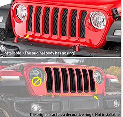 Headlight Bezels Angry Eyelid and 7 pcs Mesh Grill Insert Compatible with 2018 2019 Jeep Wrangler JL 2 Dr 4 Dr
