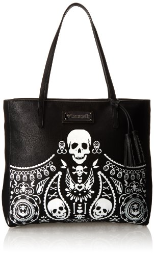 Leopard Printed Leather Tote (Loungefly Embossed Bandana Tote Tassels Shoulder Bag,Black,One Size)