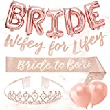 xo, Fetti Bachelorette Party Decorations Rose Gold Glitter Kit - Bridal Shower Supplies | Bride to Be Sash, BRIDE Balloons, Tiara, Wifey For Lifey Banner, Veil + Bride Tribe Tattoos