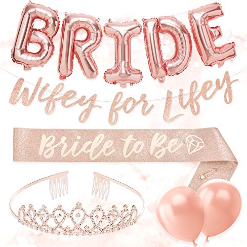 xo, Fetti Rose Gold Glitter Bachelorette Party Decorations Kit - Bridal Shower Supplies | Bride to Be Sash, BRIDE Balloons, Tiara, Wifey For Lifey Banner, Veil + Bride Tribe Tattoos