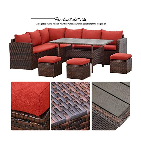 Wisteria Lane Patio Furniture Set, 7 PCS Outdoor Conversation Set All Weather Brown Wicker Sectional Sofa Couch Dining Table Chair with Ottoman,Wine Red Cushion - COMFORTABLE CUSHION - This outdoor patio dining set comes with durable beige fabric, can last for longer time. Thicker resilience sponge adds extra comfort for each moment. HANDWORK MATERIAL - Made of strong galvanized steel frame and all-weather hand woven PE rattan, give you a weather resistant set that will last your for years to come EXQUISITE DESIGN - Combine the functionality of wood and iron with the comfort of wicker has a refined classic style,easier to match any preexisting decor - patio-furniture, patio, conversation-sets - 51yviwLFJkL. SS570  -
