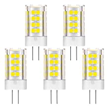 KINDEEP 12V G4 LED Bulb, 5W (40W Halogen Bulb Equivalent), 400LM Light Bulb for Trailer Landscape Light (Daylight White 6000K, 5-Pack)
