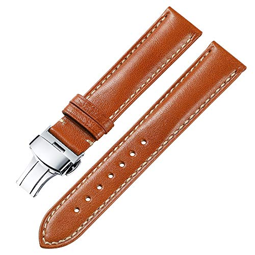 iStrap 18mm Genuine Leather Watch Band Padded Calfskin Strap Steel Butterfly Deployant Clasp
