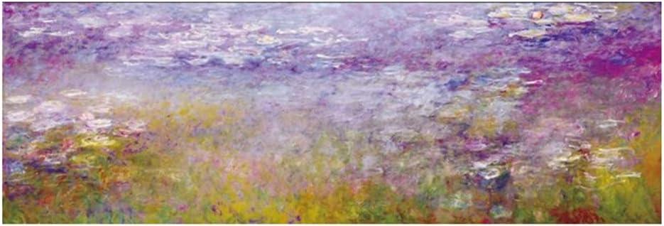 Monet Water Lilies Pinturas al óleo Imprimir en Lienzo Impresiones artísticas Obras de Arte Famosas de Monet Cuadros de Pared para Cama Habitación-60x180cm Sin Marco