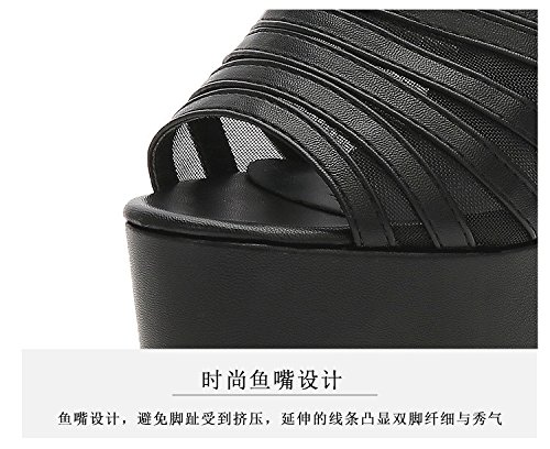 tacos con XiaoGao super Black bruto fresco y y Comodo con y zapatillas zapatillas toallas tacones wqpzFw