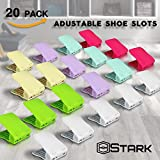 Shoe Slotz [UPGRADED] Adjustable Shoe Rack - Shoe Collection Display - Easy To Find Shoe - Large Double Rack Shoe Slot for 2 Pairs - Mix Colors - 20 Pcs