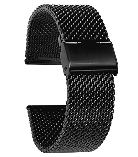 Happy E-life 18-24mm Width Stainless Steel Metal Watch Band Strap 175mm Adjustable Length(Black1,24mm)