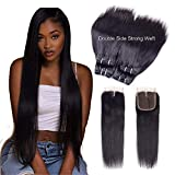 Peruvian Hair Bundles with Closure 100% Unprocessed Virgin Human Hair Bundles with Lace