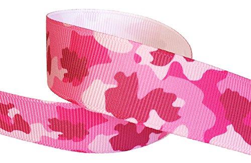 HipGirl Printed Grosgrain Camouflage Ribbon, 5-Yard 7/8-Inch, Pink