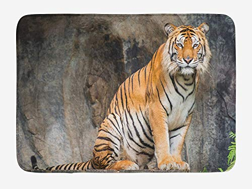 (swan ptA Zoo Bath Mat, Bengal Tiger Feline Predator Aggressive Hunter Carnivore Africa Safari, Plush Bathroom Decor Mat with Non Slip Backing, 16