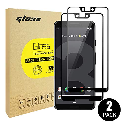 NEWDERY Google Pixel 3 XL Screen Protector 2 Pack, Pixel 3 XL Tempered Glass Screen Protector (Full Cover, Full Adhesive, Case Friendly, HD Clear, Bubble-Free) for Google Pixel 3 XL, 2018 (Black)
