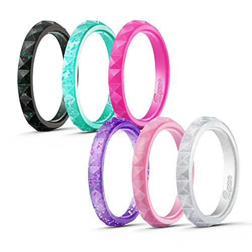 Egnaro Silicone Wedding Rings For Women-6 Rings Pack-Black Glitters,Silver,Light Rose Gold,Turquoise Glitters,Purple Glitters,Purple